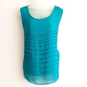 Avenue turquoise sleeveless layered blouse
